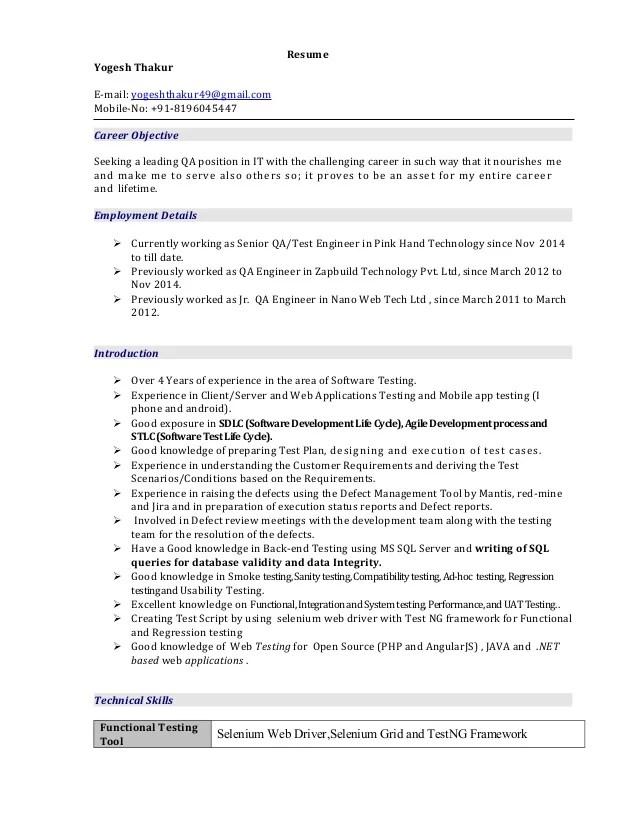 Yogesh test engineer resume