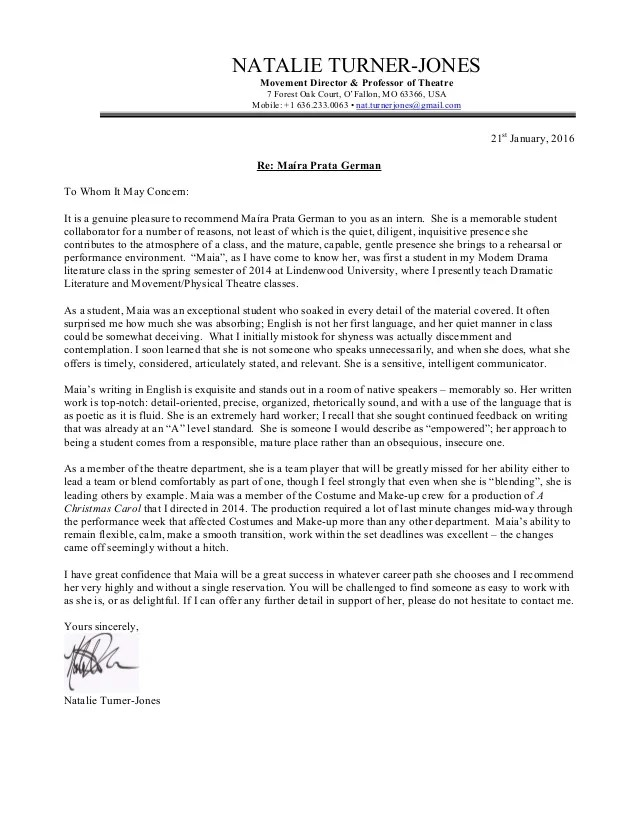 letter of recommendation email template