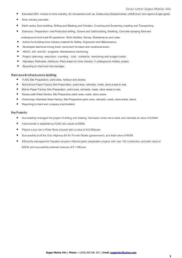 Mining Engineer Cover Letter - Cover Letter Resume Ideas ...