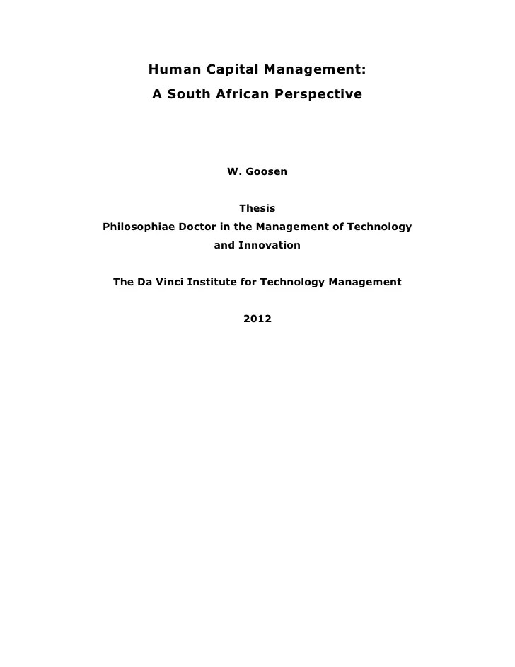 Thesis Human Capital Management A South African