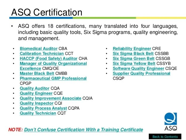 Overview of ASQ Certified Quality Auditor CQA