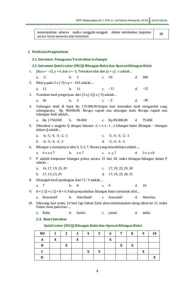 Sifat asosiatif, yaitu (a x b). Contoh Soal Bilangan Bulat Positif Dan Negatif Kelas 7