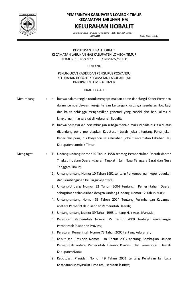 Contoh Sk Kader Posyandu : contoh, kader, posyandu, Kader, Posyandu