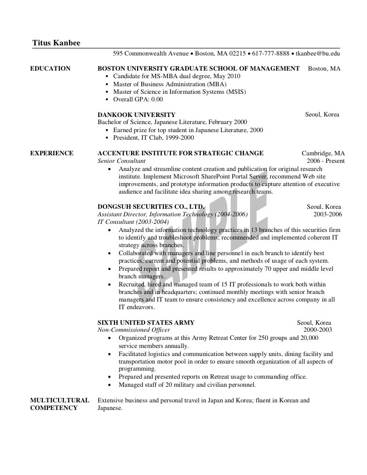 1st year mba resume sample - Mba Resume Examples