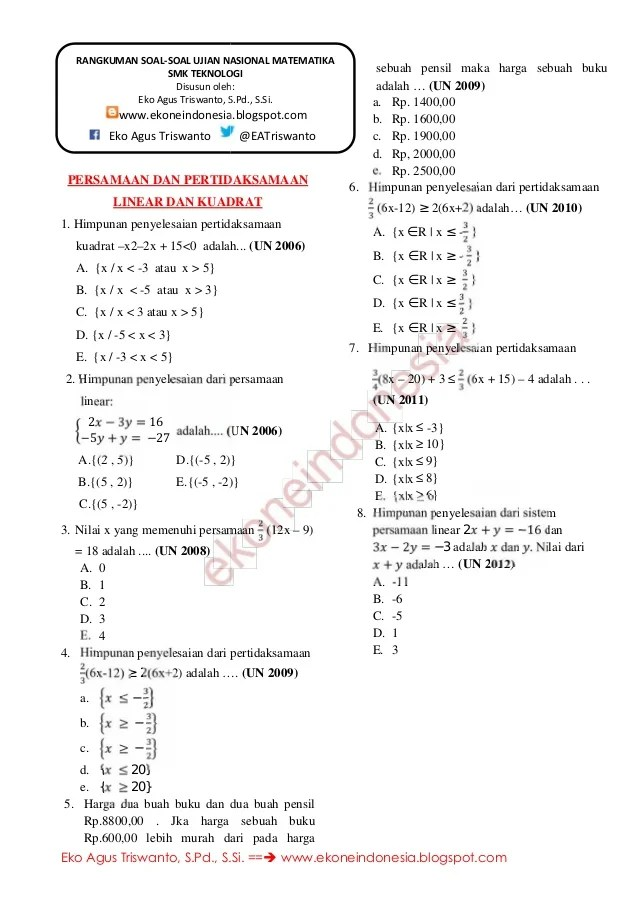 Soal Pertidaksamaan Linear : pertidaksamaan, linear, Persamaan, Pertidaksamaan, Linear, Kuadrat