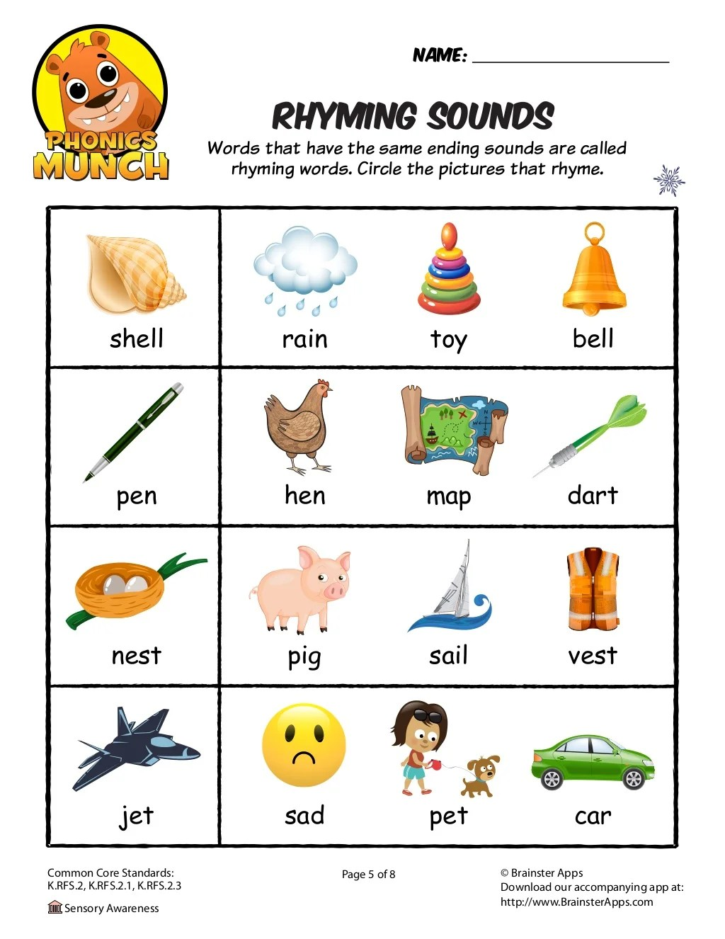 Rhyming Sounds Worksheet