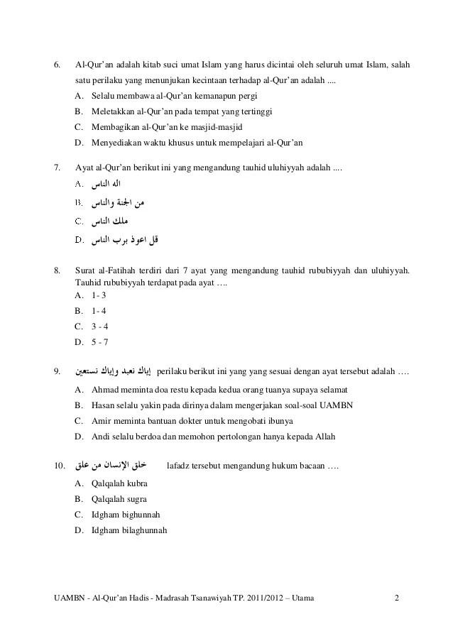 Ayat Alquran Yang Berisi Perintah Berkurban Adalah : alquran, berisi, perintah, berkurban, adalah, Soal-uambn-al-quran-hadis-mts-utama