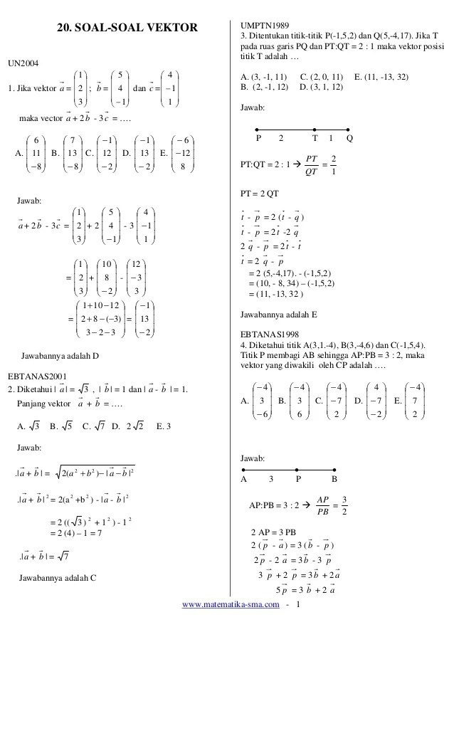 Contoh Soal Vektor Dan Pembahasannya : contoh, vektor, pembahasannya, Contoh, Vektor, Matematika, Kumpulan, Pelajaran