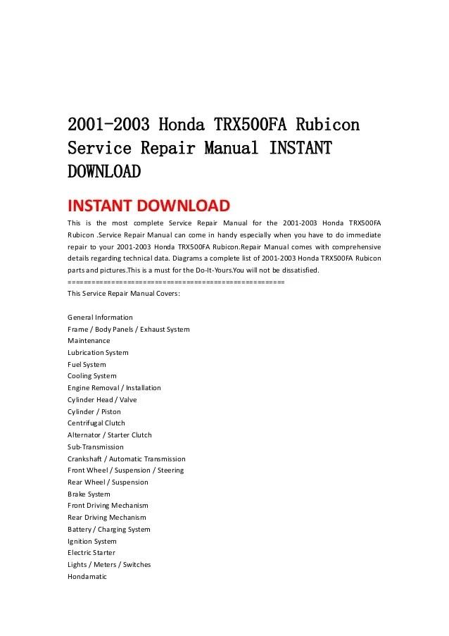 2001 2003 honda trx500 fa rubicon service repair manual