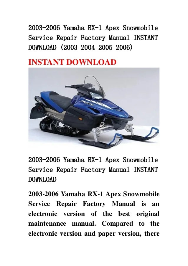 2003 2006 yamaha rx1 apex snowmobile service repair factory manual i…