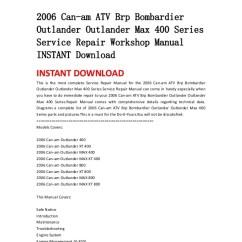 2006 Can Am Outlander 650 Wiring Diagram 1977 Fj40 Atv Brp Bombardier Max 400 Series Ser Service Repair Workshop Manual Instant Download