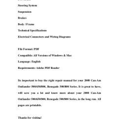 2006 Can Am Outlander 650 Wiring Diagram Cat6 Rj45 2008 500 800 Renegade Series Service Re Repair Workshop Manual
