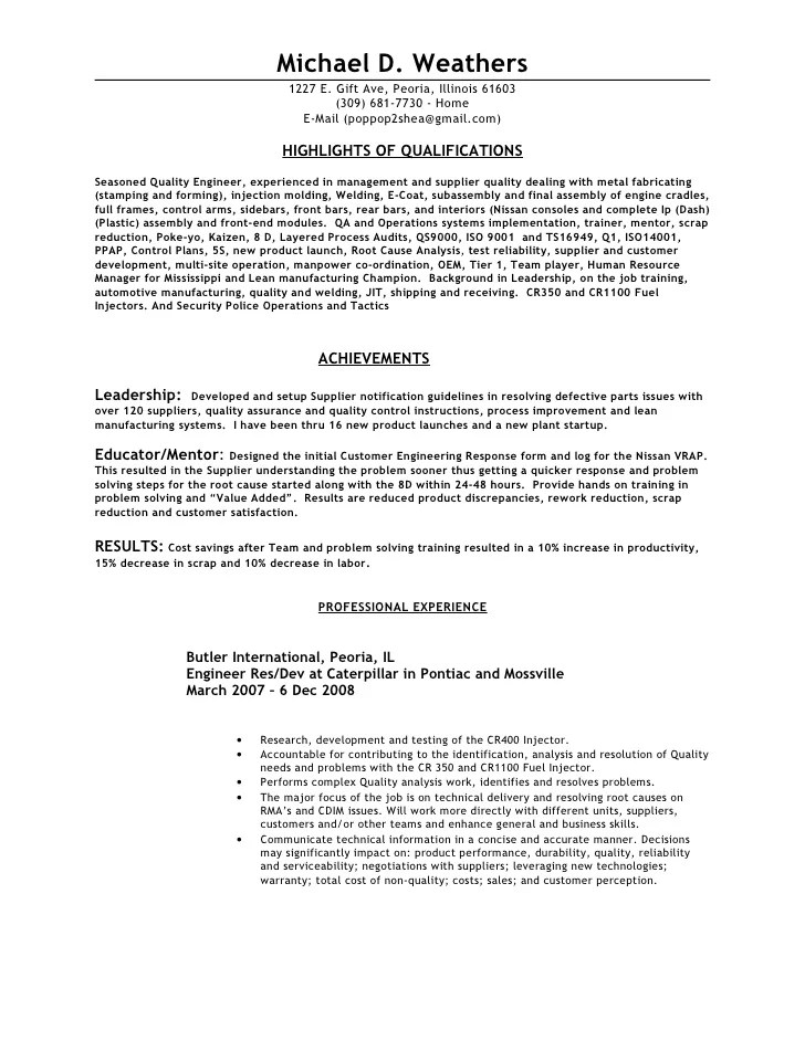 Quality Resume Examples