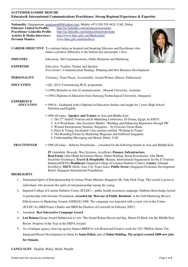 2011 Satvinder Sandhu Resume Educator And Communication