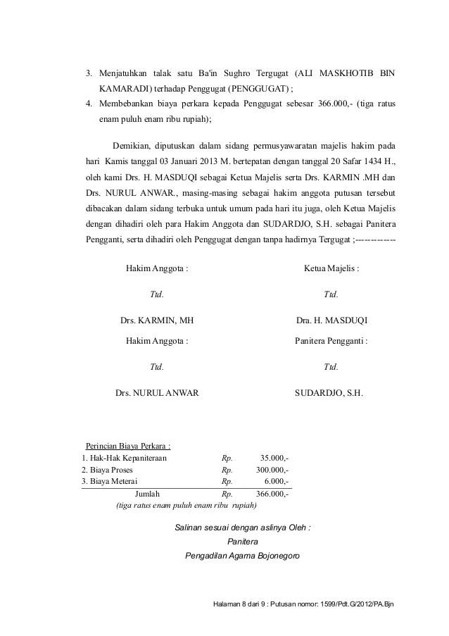 Contoh Surat Cerai Kosong Backup Gambar