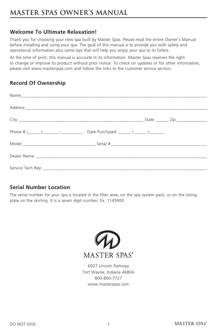 small resolution of master spa legend owner s manual 1 3