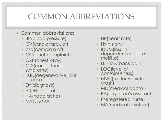 cv medical abbreviation