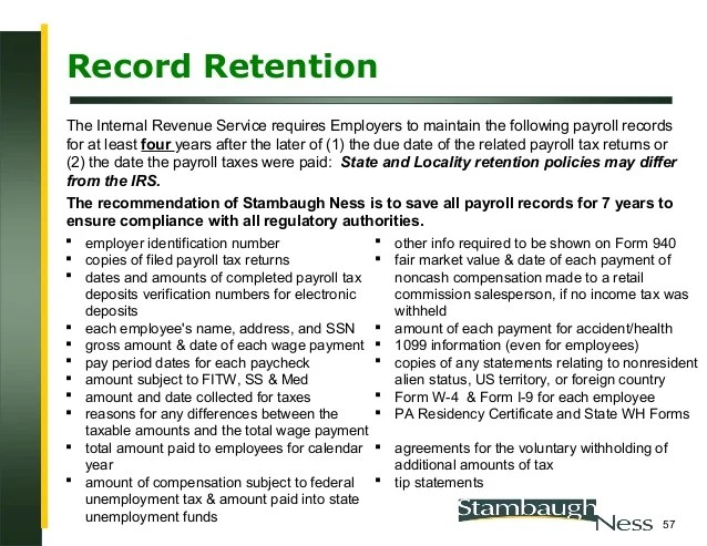 Record retention also year end payroll seminar rh slideshare