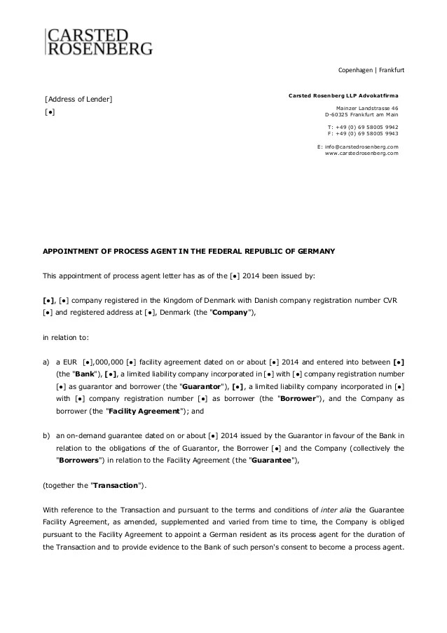 Template Appointment Of Process Agent In Germany Carsted