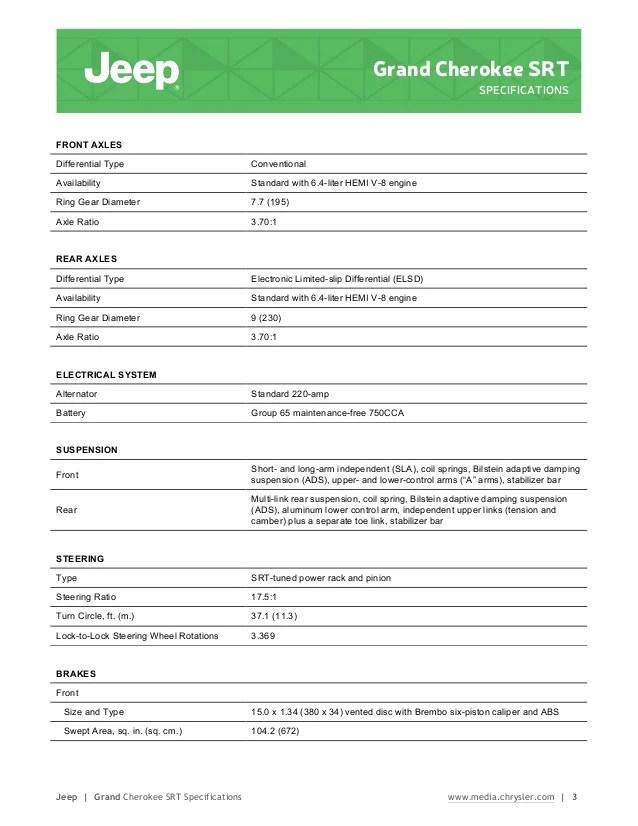 2015 Jeep Cherokee Oil Type : cherokee, Grand, Cherokee, Specifications, Information, Brochure