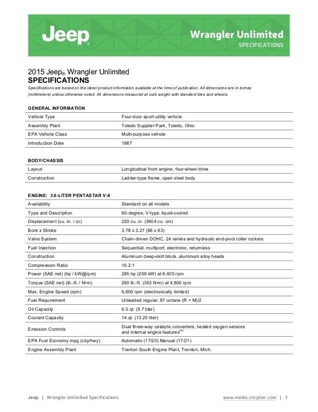 Jeep wrangler unlimited specifications information brochure new jersey dearler precision chrysler dodge ram used car nj also ne  rh slideshare