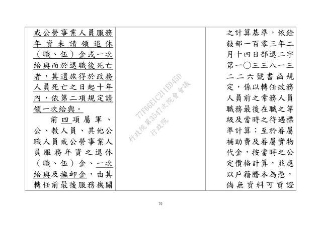 20170504行政院人事行政總處:「政務人員退職撫卹條例」修正草案