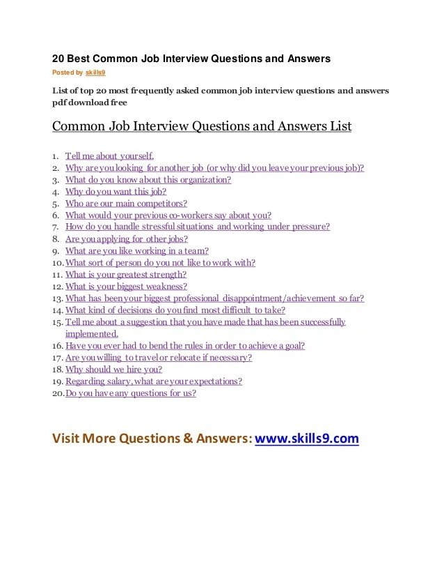 20 Best Common Job Interview Questions And Answers