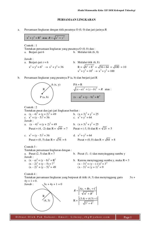 Soal Persamaan Lingkaran : persamaan, lingkaran, Modul, Persamaan, Lingkaran, Sukani