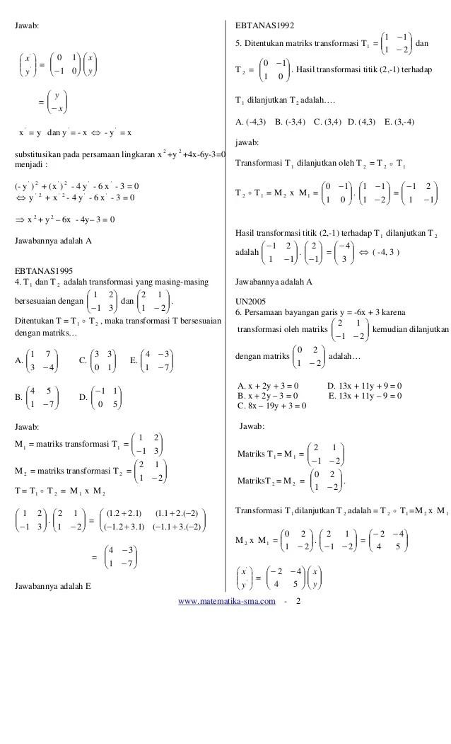 Contoh Soal Transformasi Geometri Rotasi : contoh, transformasi, geometri, rotasi, Transformasi, Geometri