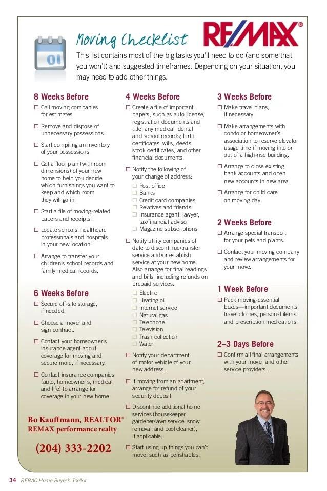 home moving checklist