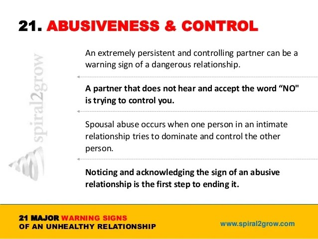 Signs of being in a controlling relationship