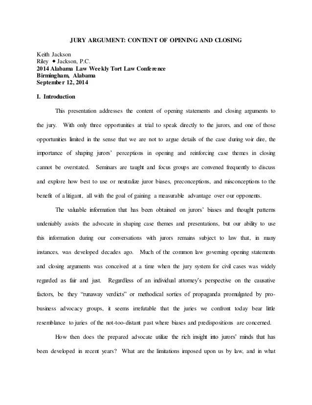 Seminar Paper Jury Argument