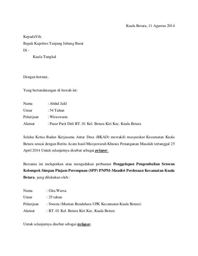 Contoh Surat Laporan Pengaduan Ke Polisi Tentang Cuitan Dokter