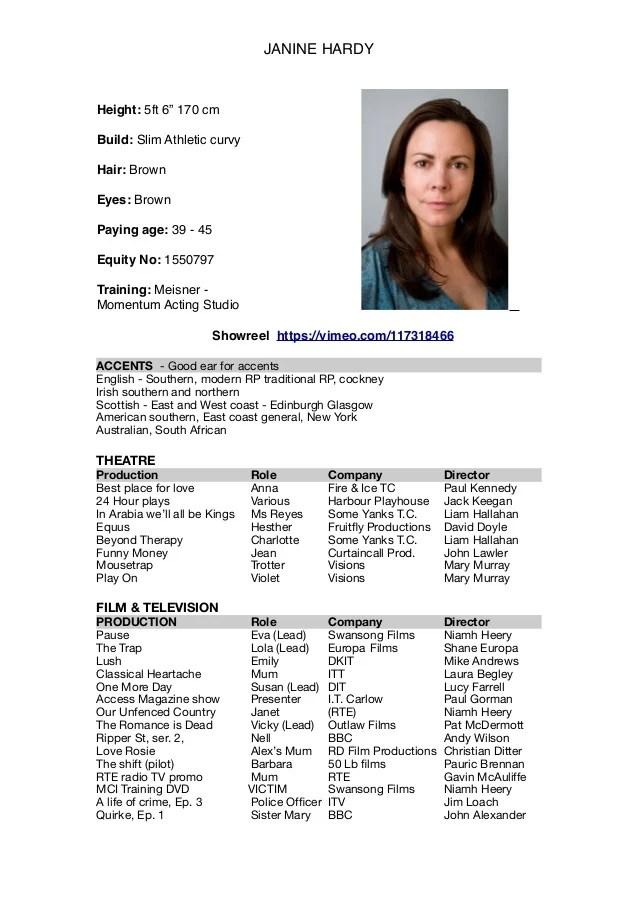 Acting CV Template Headshot 1