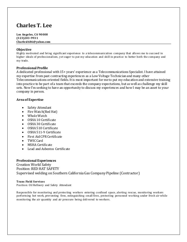sample resume oil refinery operator