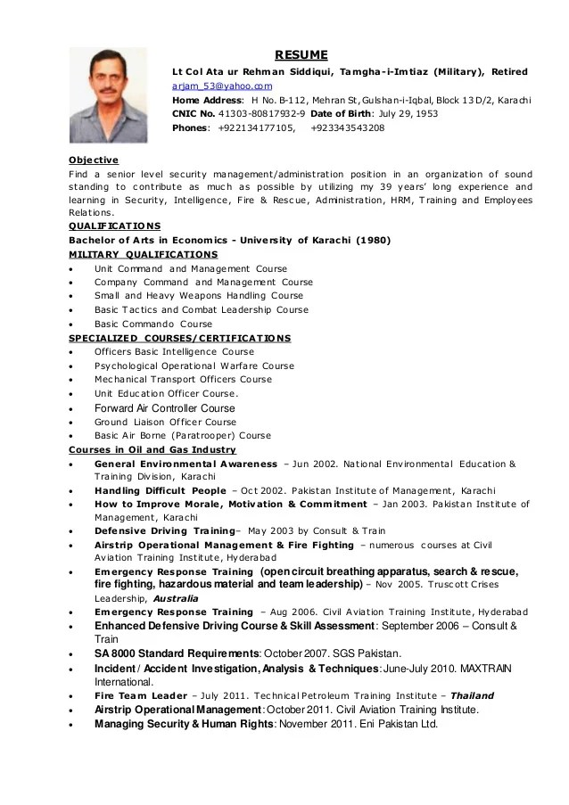 RESUME Col Ata Eni Pakistan Ltd