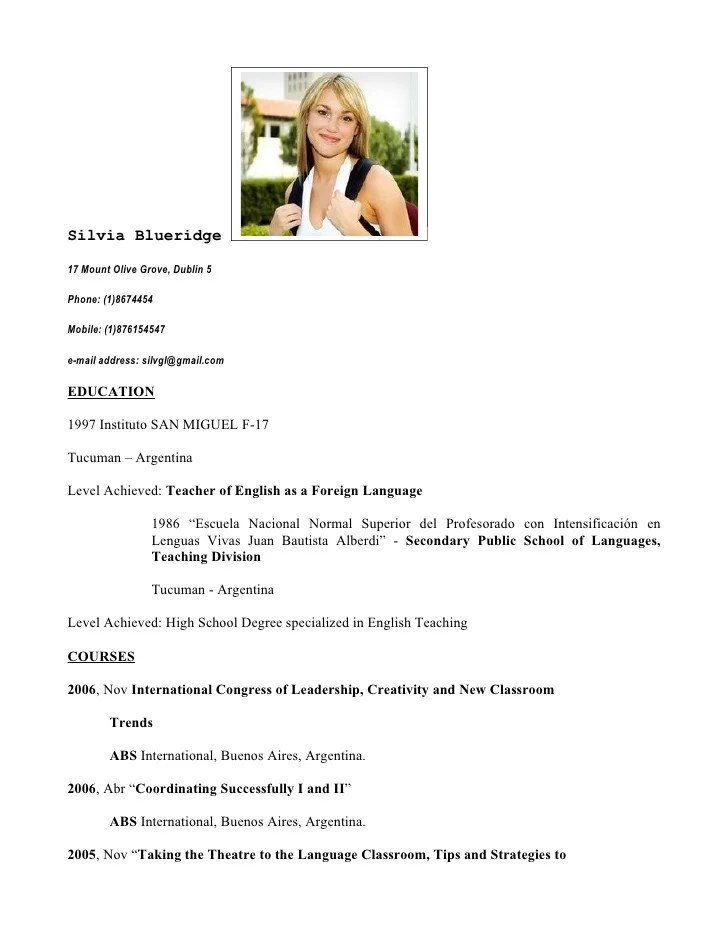 Cv As English Teacher Free Document Resume Samples