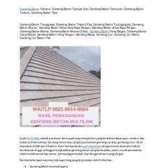 Merk Atap Baja Ringan Yang Bagus Wa Telp 082186148884 Genteng Pres Beton Bojonegoro Gent