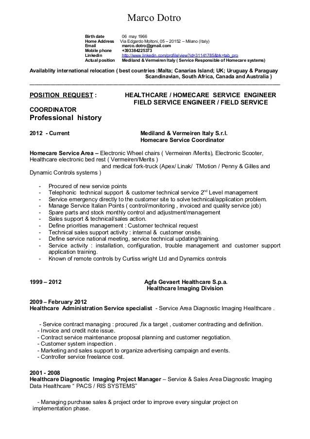 Mr Marco Dotro Resume English Technical & Sales 01 16