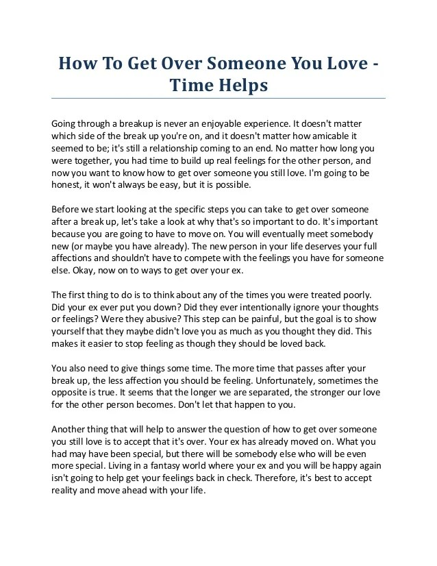 How To Get Over Someone You Love Time Helps