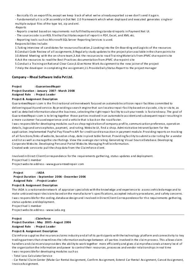 asp net mvc developer resume sample