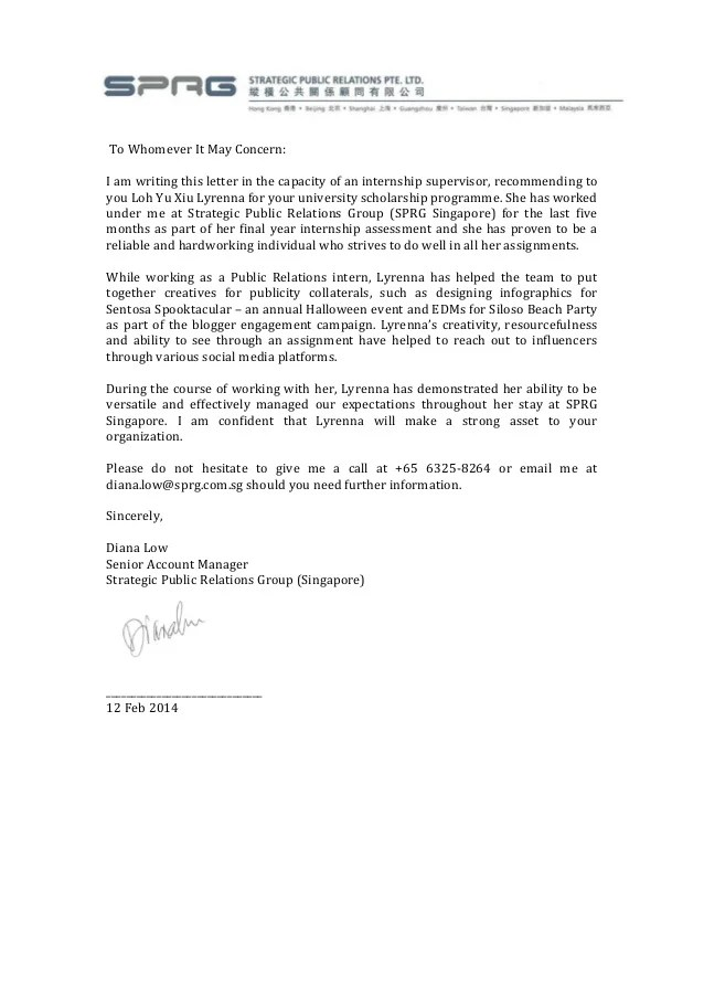 Recommendation letter from internship SPRG Singapore