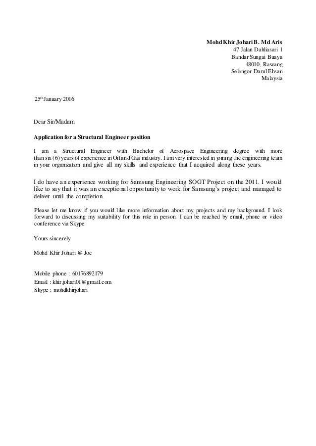 Cover Letter  Structural Engineer
