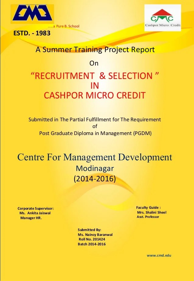 Summer Training Project Report Cover Page Updated