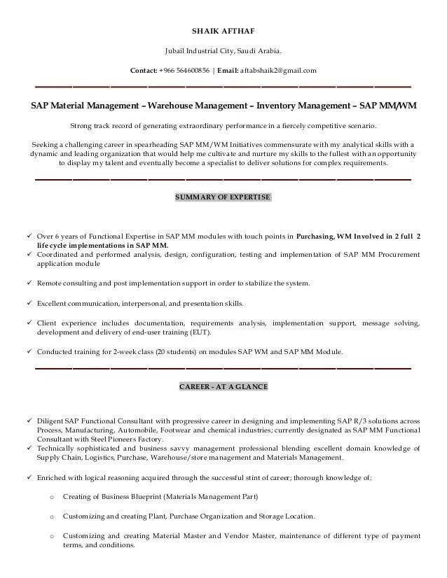 example of sap wm resume