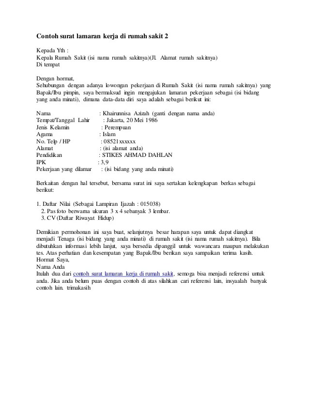 Contoh Surat Lamaran Kerja Rumah Sakit Pelamonia Cute766