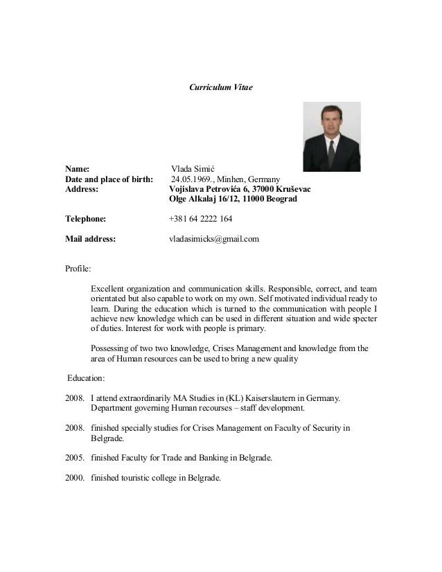 cv resume in english