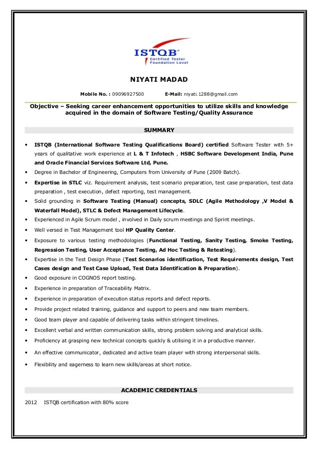 Niyati Manual Testing ISTQB Certified Resume