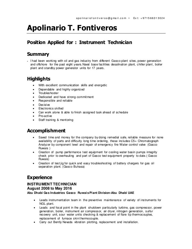 Fontiveros CV 2016 Instrument Technician