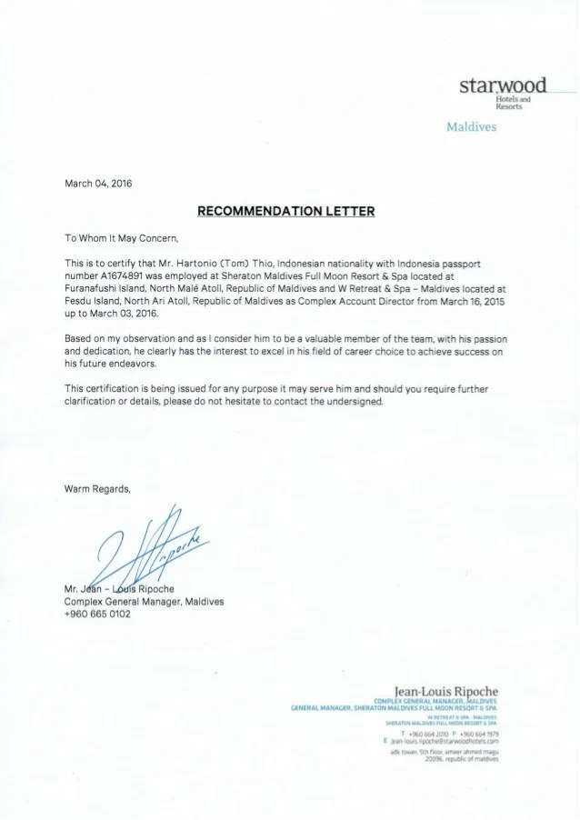 letter of recommendation for general manager